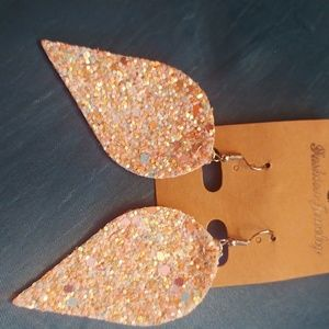 Leather Sparkle Earrings New Pink